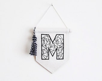 Wall Banner - Initial Banner - Initial Art - Mini Banner - Pennant Flag - Wall Hanging - Customizable Banner