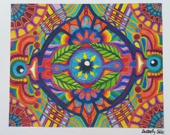 Rainbow Eye Visionary Art Print Watercolor Painting