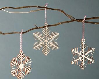 Snowflake Ornaments - Lasercut Birch (set of 3)