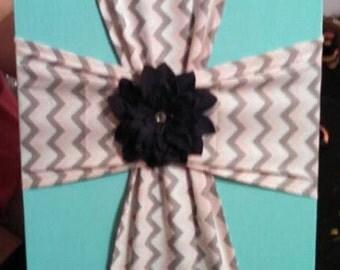 Fabric Cross on Canvas