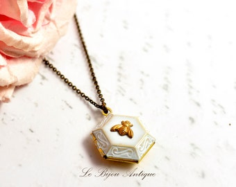 Locket Necklace Honeycomb Bee Locket white gold Vintage Inspired Hexagonal Antique style Gift for her Short chain bronze gold white