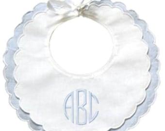 Monogrammed Baby Bib Linen Cotton Monogram Bib Gift Shower