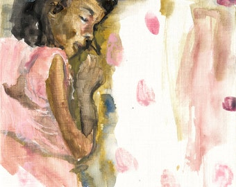 Quiet - Giclee Art Print, Fligure Painting, Sleeping Girl, Pink Polka Dots, Home Decor