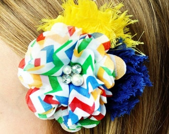 Hair clip: rainbow and shabby chic hair flowers on a smooth alligator clip, rainbow hair flower, flower hair clip hair accessory