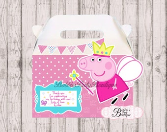 Peppa Pig party favor box, Peppa Pig gable box, 10 Peppa Pig party favor gable box, Peppa Pig favor box