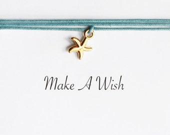 Make A Wish Starfish Bracelet - Bohemian Jewellery, Friendship Bracelet, Charm Bracelet, Boho Jewelry, Beach Bracelet, Sea Star