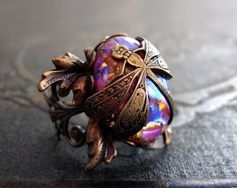 Antique Style Dragonfly Ring - Victorian Renaissance Brass Czech Opal Cabochon Ring - Rustic Ethereal Nature Jewelry Filigree Statement Ring