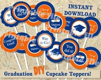 Graduation cupcake topper in orange and bue printable template DIY