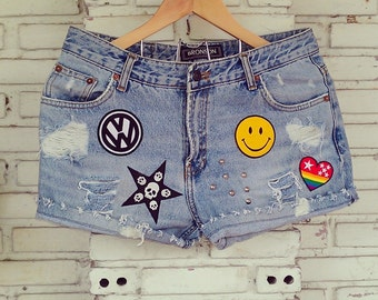 Patched Denim / Reworked Vintage Jean Shorts with Patches / Vintage Jean Shorts / Studded Jean Shorts Women 32 Waist