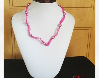 Bright Pink Ribbon and Bead Necklace, Pink Necklace, beaded necklace, simple necklace, cute necklace, costume necklace, ribbon necklace