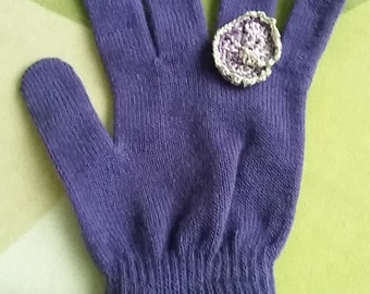 """Knitted stretchy  """"magic"""" gloves with crocheted """"ring""""on one finger. These gloves are sold in individual pairs. Choose your color!"""
