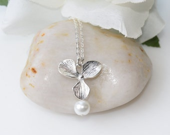 Sterling Silver Necklace,Orchid Flower Necklace, Wedding Jewelry, Bridesmaid Jewelry