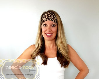 The Cheetah Print Yoga Headband - Spandex Headband - Boho Wide Headband