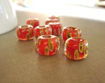 SRA Lampwork Beads, Boro Beads, Handmade Lampwork Beads - 10 Beads