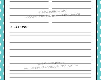 EDITABLE Printable recipe card Template pdf sheet recipe