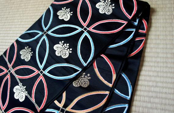 Black silk fukuro obi circles and family crest, black Fukuro obi, vintage silk obi belt, Japanese kimono belt, darari fukuro obi, wafuku