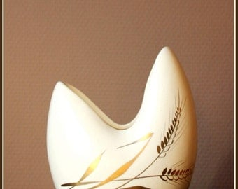 Lovely mid century vase with gilded ears of wheat decoration.  Belgium, 1950s