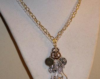 Artisan Steampunk Charm  Necklace.