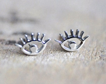 Eye Stud Earrings, Silver, Evil Eye, Eye, Stud Earrings, Gift, Gift For Her, Surgical Stainless Steel, Titanium, Hypoallergenic, Chic