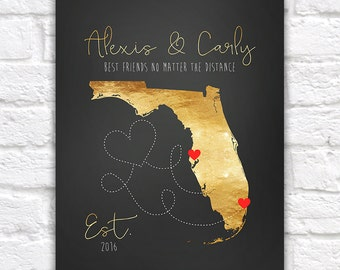 Gold Map, Custom Map Art, Long Distance Best Friends, Florida, Daughter, Birthday Gift for Sister, Moving Away, Dorm Room, Gold Art | WF154