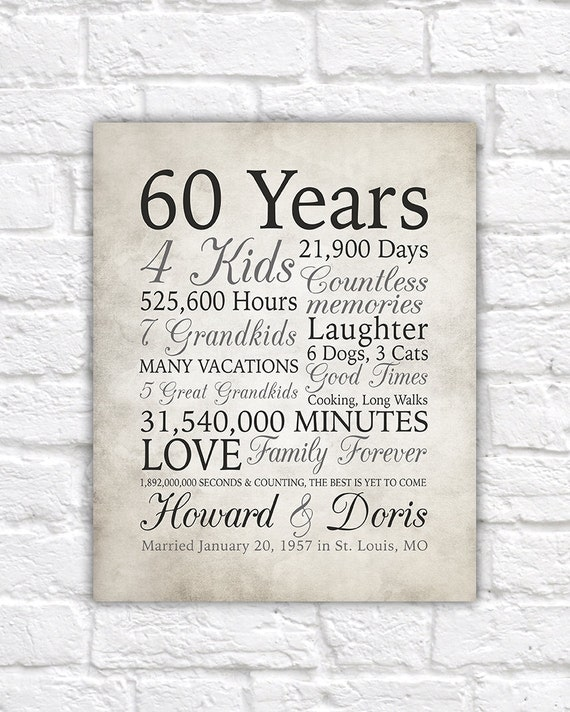 60 Wedding Anniversary Party Ideas: 60th Anniversary Gift 60 Years Married Or Any Year Gift For