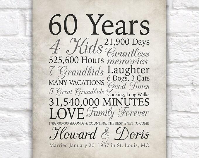 60th Anniversary Gift, 60 Years Married or Any Year, Gift for Grandma and Grandpa, Grandparents Anniversary, Parents, Diamond Gray | WF520