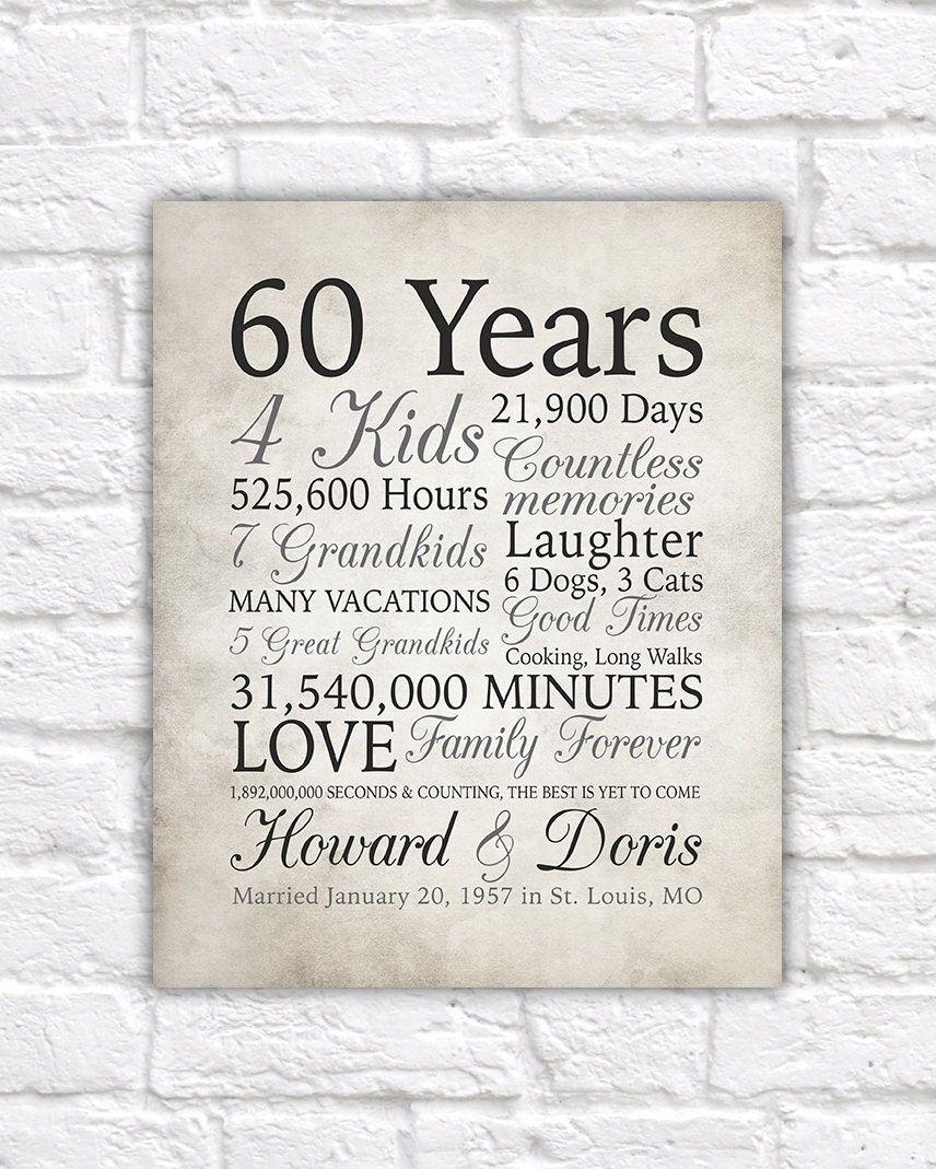 Gift Ideas 60th Wedding Anniversary Grandparents : 60th Anniversary Gift, 60 Years Married or Any Year, Gift for Grandma ...