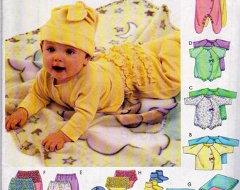 McCalls 3665, Babies Wardrobe Pattern, Coveralls, Bodysuit, Pants, Diaper Cover, Blanket, Booties, Bib, and Hat, For 8 to 21 Pound Babies
