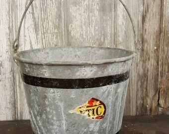 Galvanized Pail Bucket Vintage Black Stripe Bucket Wooden Handle