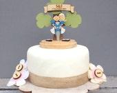Motorbike wedding topper &  - shabby chic style personalised cake topper