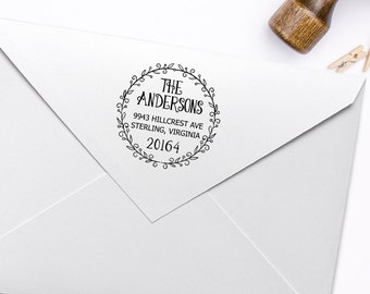 Return Address Stamp, Housewarming Gift Stamp, DIY Wedding Rubber Stamp. Address Label Stamp 2x2 Inch