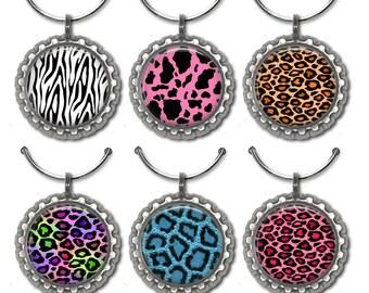 Animal Print Wine Charms - set of 6 wine charms