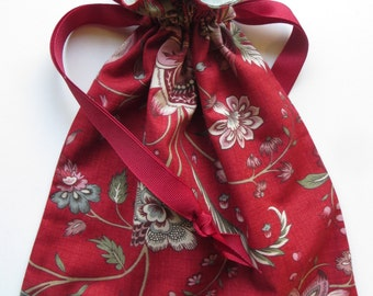 Red Lined Drawstring Gift Bag