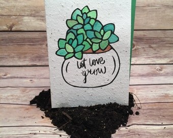 Plantable Love Card, Let Love Grow, Seed Paper Card, Succulent Plants