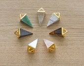1 pcs of Hollow Gold Plated Pyramid Multi-Kind Stones Faceted Pendant