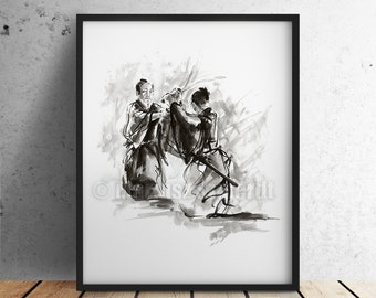 Samurai fight, japanese warrior, home decor, samurai poster, fine art print, japan style, watercolor art.