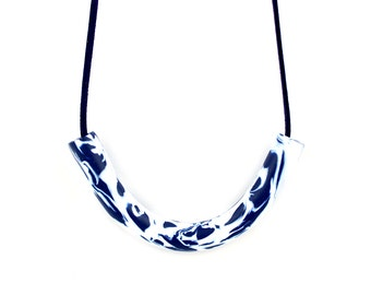 Navy and white statement necklace, navy marble necklace, geometric curve necklace, wearable art, navy bib necklace, modern art necklace
