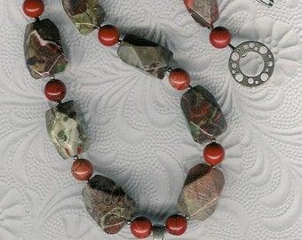 Squirrely - Carved Succor Creek Jasper Pendant, Spiderweb Agate, Red Jasper, Sterling Silver Necklace