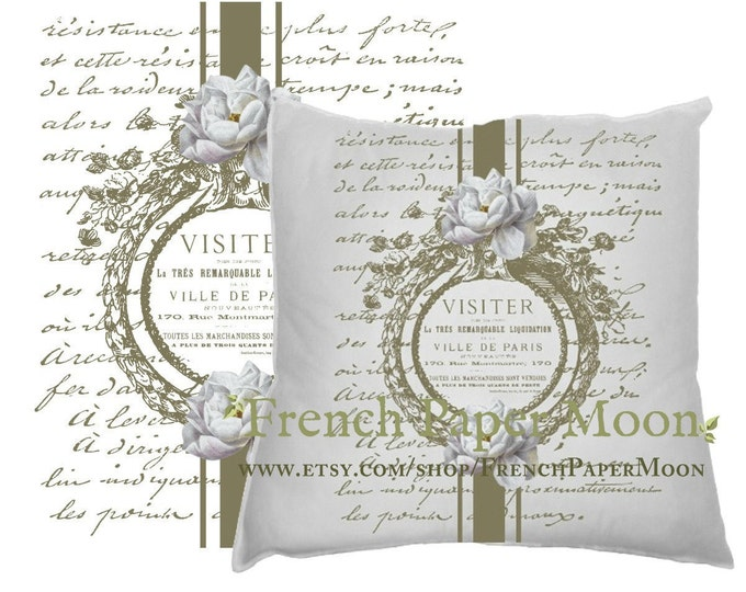 Shabby Chic Digital Vintage French Pillow Image, Gold Frame with Roses, French Pillow Graphic Transfer Printable