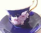 Vintage Teacup duo - Teacup and Saucer - by Crown ARPO Fine Porcelain - Amazing Cobalt Blue