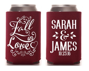 Custom Can Cooler, Fall In Love, Fall Wedding Favor, Autumn Wedding, Wedding, Fall Wedding Favors, Rustic Wedding, Fall Theme Shower