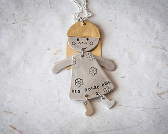 Doll necklace with pendant in the shape of a smiling girl, big-boned girl with flowered dress, boy and girl necklace, little woman jewel