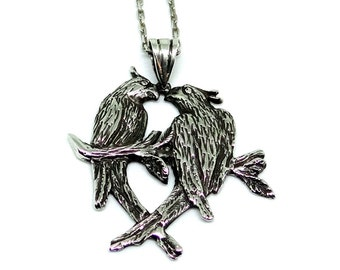 Parrot Jewelry, Silver Pendant Necklace, Silver Necklace, Bird Necklace, Necklace Pendant, Parrot Necklace, Silver Pendant Two Parrots