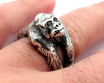 Silver Gorilla Ring, Silver Ring, Sterling Silver Ring, Ape Ring, Animal Ring, Gorilla Art, Handmade Silver Ring Ape Jewelry, King Kong Ring