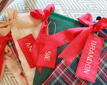 Set of 5 family christmas stockings / Christmas stocking plaid / Christmas stocking fur / red