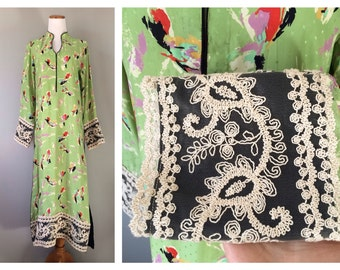 Vintage Silk Embroidered Dress Green Floral Tunic Ethnic Ivory Cotton Embroidery Asian Bohemian Dress Size XS Small Medium Large RARE Beauty