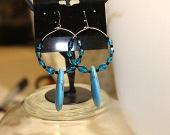 Teal tear drop hoop earrings