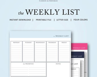 the Weekly To Do List | Instant Download