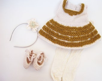 Gold dress, cream color dress, doll set, waldorf dolls, waldorf doll set, waldorf doll clothes, newborn clothes, crocheted dress, knitting.