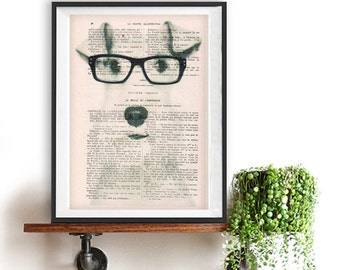 schnauzer print, dog with spectacles, schnauzer art print, holiday gift, vintage dictionary, gift for her, book page, Christmas gift